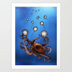 Octopus Art Print by Anna Shell - $14.56