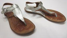 Born 6 Silver Metallic Leather T-Strap Thong Flip Flop Ankle Strap Sandal W01928