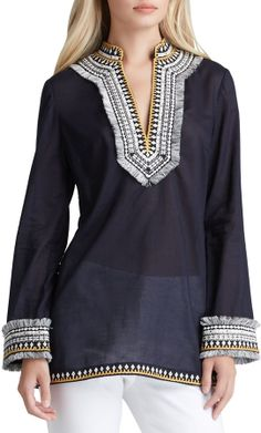Tory Burch Tory Embroidered Voile Tunic on shopstyle.com