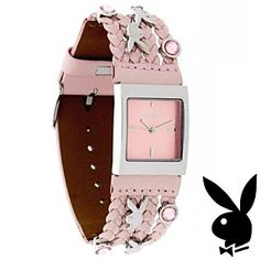 Playboy Watch Bunny Logo Pink Swarovski Crystals Braided Leather Band by Playboy…