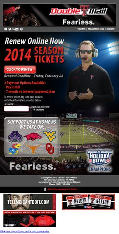 Texas Tech - Football season renewal with no-interest payment plan option (powered by Paciolan)