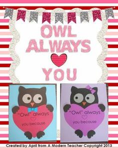 Valentine's Day Owl Craftivity is a craft and writing prompt with a boy and girl owl. Valentine's Day Owl Craftivity {Owl Always Love You} $