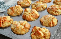 sounds good on the go. going to aff some fruit.Serve breakfast to the masses or enjoy a delicious morning meal on the go. These baked French toast muffins are divine—especially with syrup on top! French Toast Muffins, French Toast Bake, Alice Delice, Good Food, Yummy Food, Everyday Dishes, Morning Food, High Tea, Breakfast Recipes