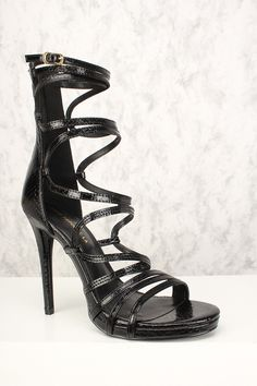 373a7f037945 Sexy Black Leather Strappy Criss Cross High Heels
