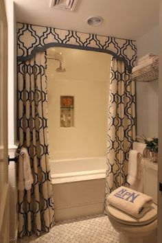 Great way to make a dingy apartment bathroom look expensive. Two shower curtains and a valance up top to cover shower rod. Looks cozy! Home Design, Bath Design, Design Ideas, Design Bathroom, Design Room, Chair Design, Design Design, Fabric Design, Design Trends