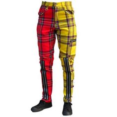 red-yellow-plaid-punk-bondage-pants