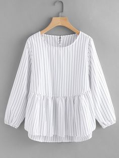 design of blouse Young Striped Peplum Regular Fit Round Neck Long Sleeve Black and White Frill Hem High Low Pinstriped Blouse Hijab Fashion, Girl Fashion, Fashion Dresses, Fashion Black, Fashion Spring, Fashion Ideas, Blouse Styles, Blouse Designs, Casual Dresses