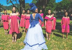 Shweshwe wedding dress  Tswana wedding dress Sesotho wedding dress Tswana Bridesmaids dresses