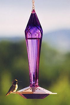 Paradise Faceted Amethyst Hummingbird Feeder