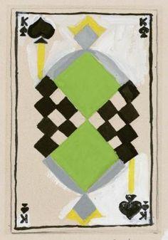¤ Roi de pique / Sonia Delaunay / France, Playing card design by Sonia Delaunay. Sonia Delaunay, Robert Delaunay, Illustrations, Illustration Art, Centre De Documentation, Stage Set Design, Art Graphique, Textile Artists, French Artists