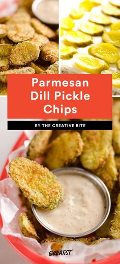 Parmesan Dill Pickle Chips  Any pickle fans in the house? These crunchy dill pickle chips are a fun, savory snack. They're coated in panko and Parmesan, and only take about 10 minutes per batch to make. If you need a last-minute app, you know what to do.
