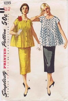 Items similar to Vintage Maternity Blouse and Skirt Pattern - Simplicity 1099 - Bust 30 on Etsy Vintage Dress Patterns, Vintage Dresses, Vintage Outfits, Vintage Fashion, 1950s Fashion, Vintage Clothing, Clothing Patterns, Women's Fashion, Maternity Patterns
