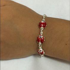 3 ladybug bracelet Sterling silver 3 enamel ladybug kids bracelet Jewelry Bracelets