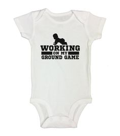 "Cute Kids Wrestling Oneise  "" Working On My Ground Game "" - Baby Mma Collection - Funny Kids Shirts - Gift for Baby - Sleeve Option - 231"