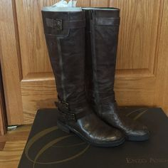 """Enzo Angiolini """"easaylem"""" boots in taupe color Inner and outer zipper double buckle on outer lower part medium width Enzo Angiolini Shoes Combat & Moto Boots"""