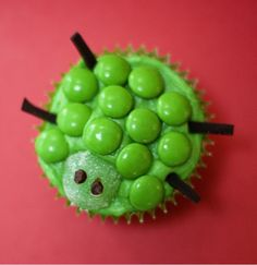 Turtle cupcakes made with green candy pieces. Super easy to make.