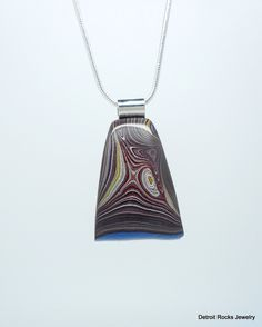 Fordite Necklace. Fordite Jewelry.  Sterling Silver Necklace. Made in Detroit. by DetroitRocksJewelry on Etsy
