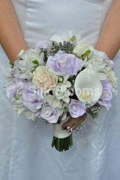 Gorgeous Artificial Fresh Touch Lilac and Pink Rose Bridal Bouquet with Calla Lilies and Lisianthus