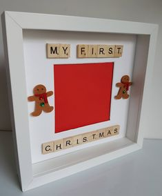 Baby First Christmas Pictures Etsy 41 Ideas For 2019 Scrabble Letter Crafts, Scrabble Frame, Scrabble Art, Scrabble Tiles, Christmas Craft Fair, Babies First Christmas, Kids Christmas, Holiday Crafts, 3d Box Frames