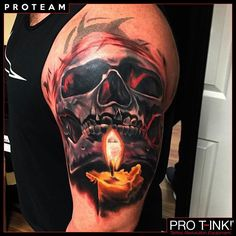 Amazing skull & candle tattoo by Pro T-Ink ProTeam Artist @markbestertattoo! #protink #markbester #markbestertattoo #amazingtattoo #evo24 #proteam #tattooworkstation #inkpalette #quicktsetup #tattooequipment #tattoorevolution #skulltattoo #skullandcandle #toptattoos http://www.pro-t-ink.com