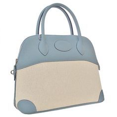 Hermes Bolide 31cm Bag Clemens White Shell With Blue Sil-$498