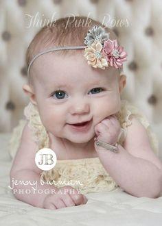 Baby Headband, Newborn Headband, Flower Headband, shabby chic Headband,Baby Headbands,satin headband, baby bows on Etsy, $8.95