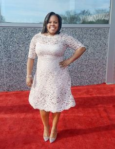 Amber Riley Shows Off Her Feminine Curves In A Beautiful Lace Dress | Plus Size Blog and Magazine - DailyVenusDiva.com