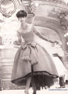 Model wearing an evening gown by Christian Dior, 1958.