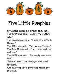 Five Little Pumpkins - fun and spooky halloween poem. Theme Halloween, Halloween Activities, Autumn Activities, Preschool Halloween, Halloween Songs For Toddlers, Halloween Crafts, Halloween Week, Halloween Ideas, Preschool Music