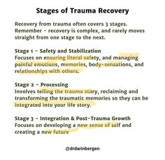 Helpful image giving a brief description of the three stages of recovery Useful of my practice Hermans stages of Trauma recovery Mental And Emotional Health, Emotional Abuse, Mental Health Awareness, Emotional Intelligence, Trauma Therapy, Therapy Tools, Play Therapy, Therapy Activities, Speech Therapy