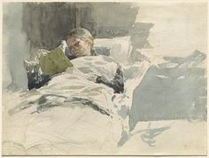 Leopold von Kalckreuth - The Artist's Wife Reading in Bed 1885/1890 | From the National Gallery in Washington  : 35,000 works of art - a new great collection online in high quality digital images to view online and download https://images.nga.gov/en/page/show_home_page.html - more information at Open Culture: http://www.openculture.com/2014/04/download-35000-works-of-art-from-the-national-gallery.html