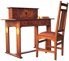 Stickley Furniture Harvey Ellis Desk & Chair with inlay #homeoffice