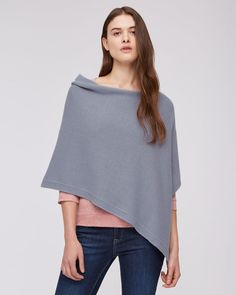 Knitted Ribbed Border Poncho