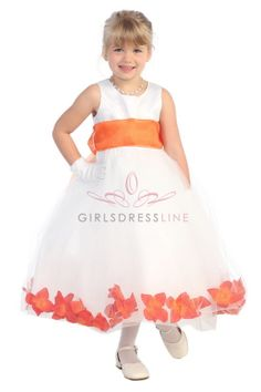 White Satin & Tulle Flower Girl Dress with Orange Petals & Sash - $35 (comes in yellow and red, all sizes)