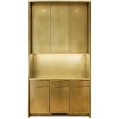 Amuneal's Brass Kitchen Cabinets with Warm Patina Finish and Custom Brass Pulls