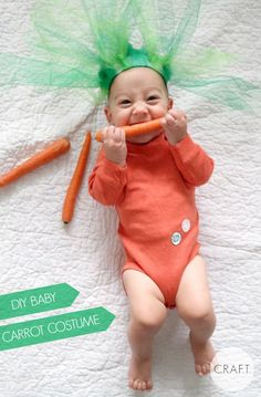 A super easy, no sew DIY baby carrot Halloween costume! It's even an organic carrot :)