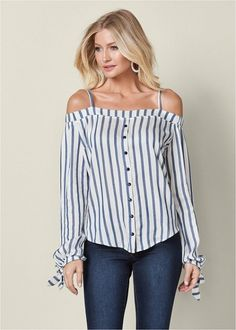 Order a sexy White Multi Cold Shoulder Button Up Top from VENUS. Shop short sleeve tops, tanks, tees, blouses and more at an affordable price today! Off Shoulder Diy, Shoulder Shirts, Cold Shoulder, Diy Clothing, Sewing Clothes, Diy Fashion, Fashion Outfits, Latest Fashion For Women, Womens Fashion