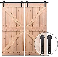 10FT/304cm Antique Sliding Barn Wood Door Hardware Track Kit Track System for Double Door,Easy to Install: Amazon.co.uk: DIY & Tools