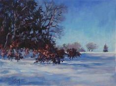 "Daily+Paintworks+-+""Red+Oak+Snow+Fall""+-+Original+Fine+Art+for+Sale+-+©+Suzanne+Poursine-Massion"