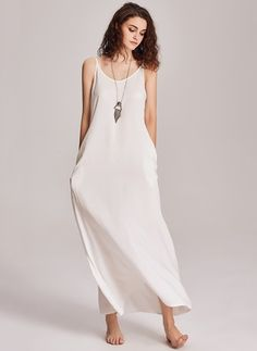 Cotton Polyester Solid Sleeveless Maxi Sexy Dresses (1021309) @ floryday.com