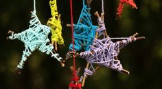 Gather some twigs and sticks, grab a few balls of coulourful yarn and get crafting on this fun and easy-to-make mobile that's also a great fine-motor workout for the kids.