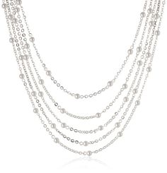 Signature 1928 Silver-Tone Simulated Pearl 5-Strand Necklace, 16' ** Continue to the product at the image link.
