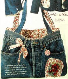 Tuto – transformer un jean en sac – Les Fraises Tuto – turning jeans into a bag – Strawberries Diy Jeans, Sewing Jeans, Jean Crafts, Denim Crafts, Jean Diy, Jean Purses, Denim Purse, Denim Ideas, Recycled Denim
