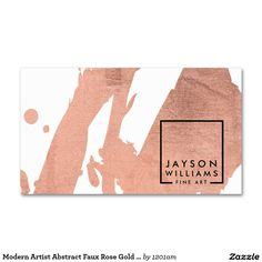 Modern Artist Abstract Faux Rose Gold Brushstrokes Business Card - Instant branding in a beautiful business card! Ready to personalize