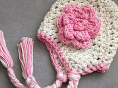 CROCHET PATTERN The Snow Bunny. Chunky Crochet Hat with Big Flower