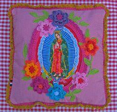 Holy Pillow virgin de guadalupe ,crochet flower pillow