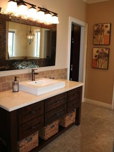 hgtvcom showcases a neutral toned bathroom featuring tiled floors a travertine tile - Bathroom Vanity Backsplash Ideas