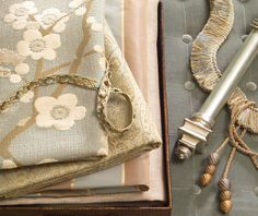 All About Aqua Fabric Collection  ... Love the cherry blossom (gorgeous pillow), the velvet (don't skip the tufting), and the beige twill (a skirted ottoman or some linens?)