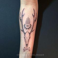 Minka Sicklinger - Deer skull for the lovely @jennaigneri …haven't gotten to do one of these for a while! @eastsideink #nofilter #deerskulltattoo #...