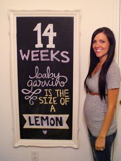 Baby Bump - Week by Week via Chalkboard...what a cute idea!!